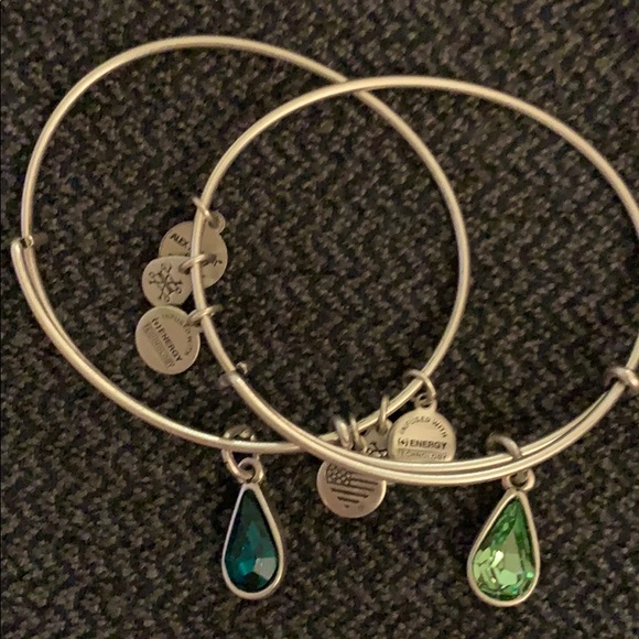 Alex and Ani Jewelry - Alex and Ani set 2 Swarovski green crystals silver